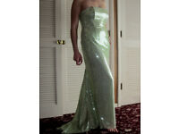 LADIES PALE LIME GREEN SEQUINNED GOWN OR STAGE DRESS!