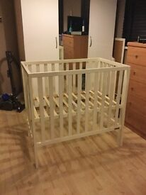 Mamas and papas petite white cot with mattress