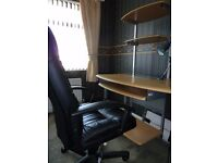 COMPUTER WORK STATION AND LEATHER CHAIR