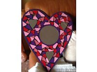 Heart shaped Mosaic Wall Mirror Hand made in Bali shaped purple, pink & red - New