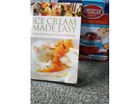 Ice cream maker and recipe book