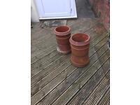 2 chimney pots