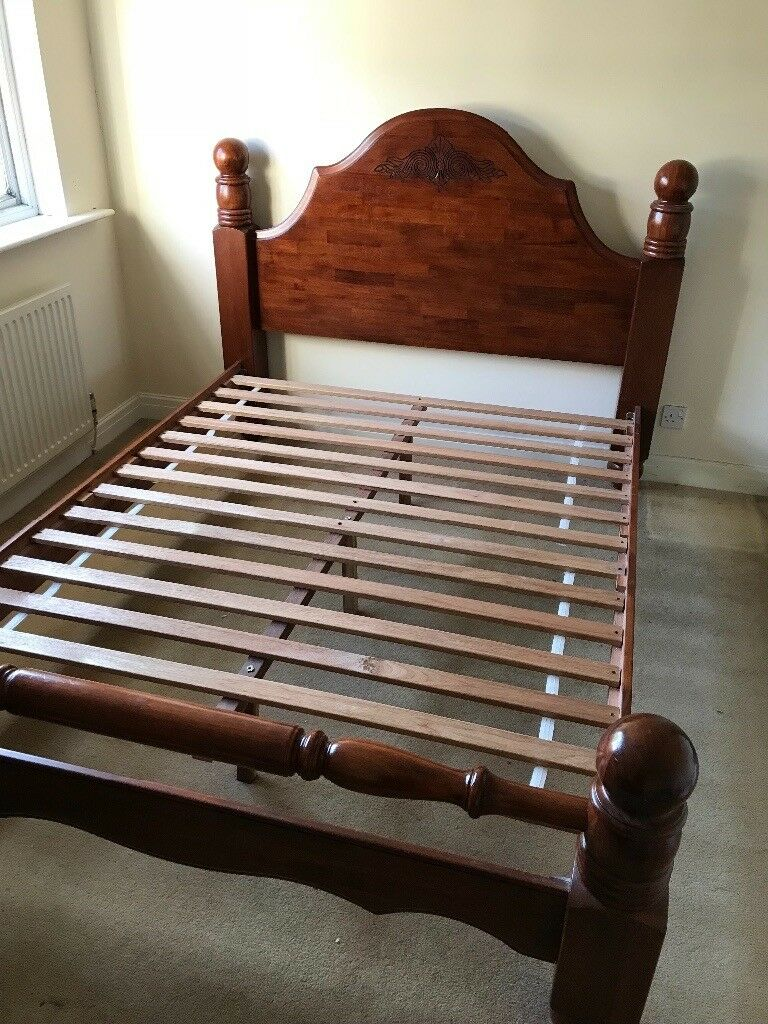 Solid oak king size bed frame minor marks and scratches on headboard collection only