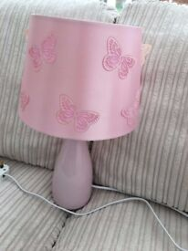 Pair of pink bedside lamps with matching ceiling shade