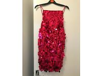 Ladies red glitter party dress size 8 warm twice Excelkent condition