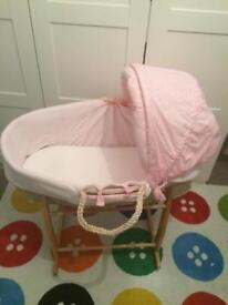 Pink mosess basket for baby girl