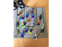 LOTS OF LEGO FIGURES & ACCESSORIES & 2 BOARDS
