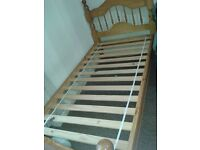 Single Pine Bed Frame With Foam Mattress & Chest of draws