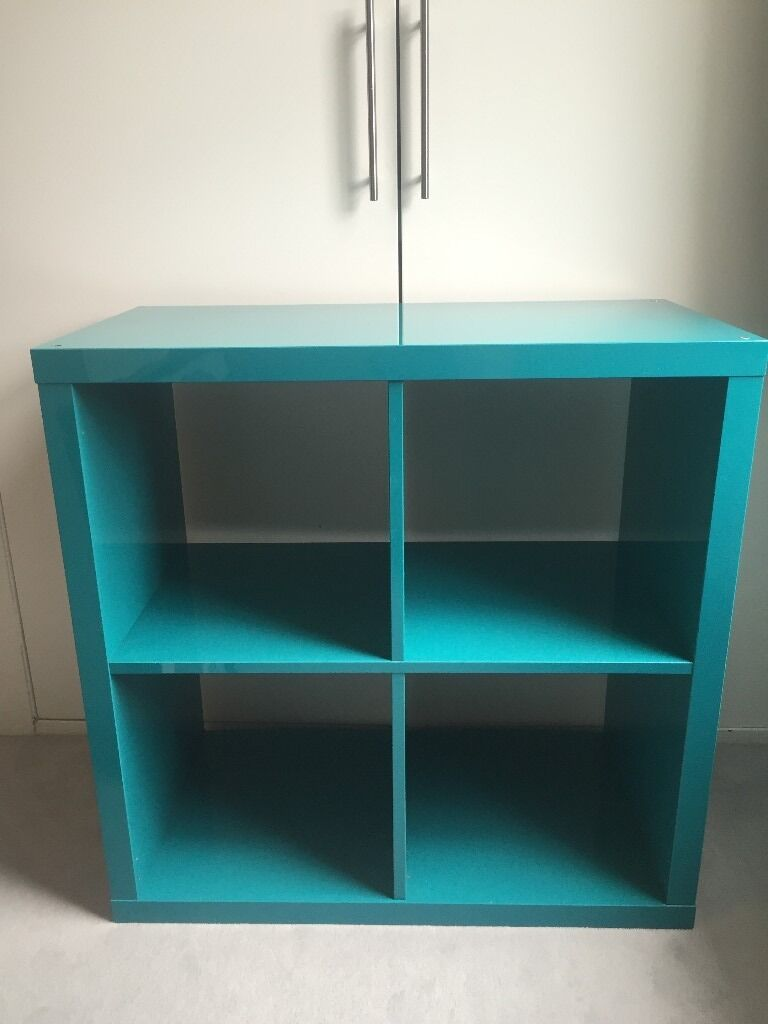 Ikea Kallax 4 Cube Shelving Unit Turquoise Blue In