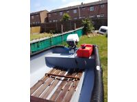 12 FT Open Fishing Boat, With Trailer & Engine.