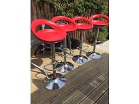 4 Red bar stools