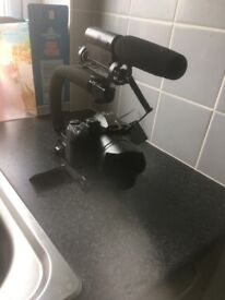 LUMIX fz330 4K camera, with rig and boom mic