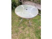 Metal Garden table with glass top