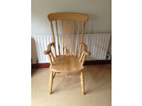 Two Fiddler Back Grandfather Chairs