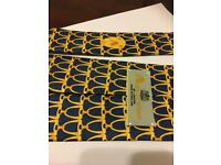 AQUASCUTUM 100% SILK TIE Blue & Golden Yellow SIGNATURE PRINT BRAND NEW WITH TAGS