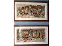 Two Harry Eliott Framed Original Cartoons