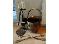 Brass coal scuttle and 4 piece fire companion set