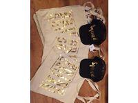 """6 Bride squad bags and 2 """"squad"""" caps"""