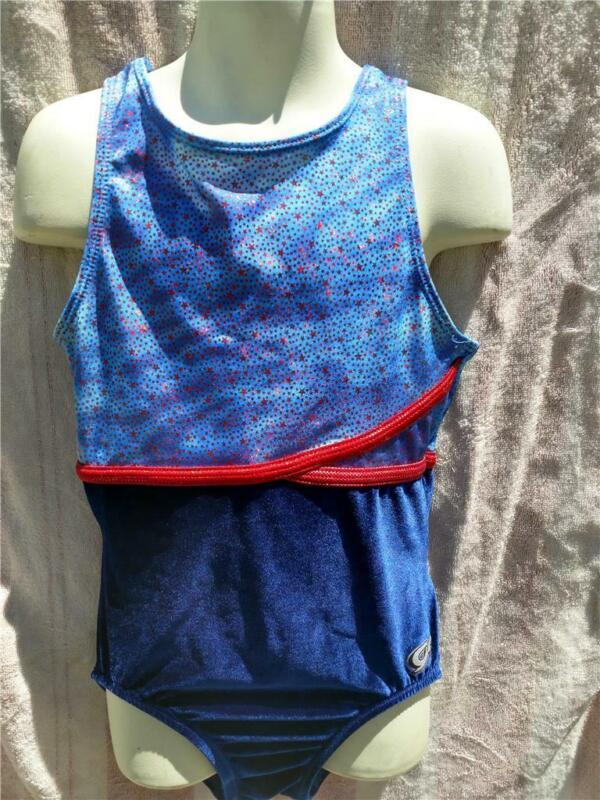 Leotard Large CL Child Dance gymnastics GK Blue red L dress up play