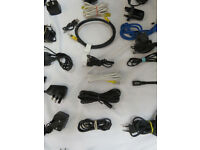 Box of plugs. cables for PC and phones