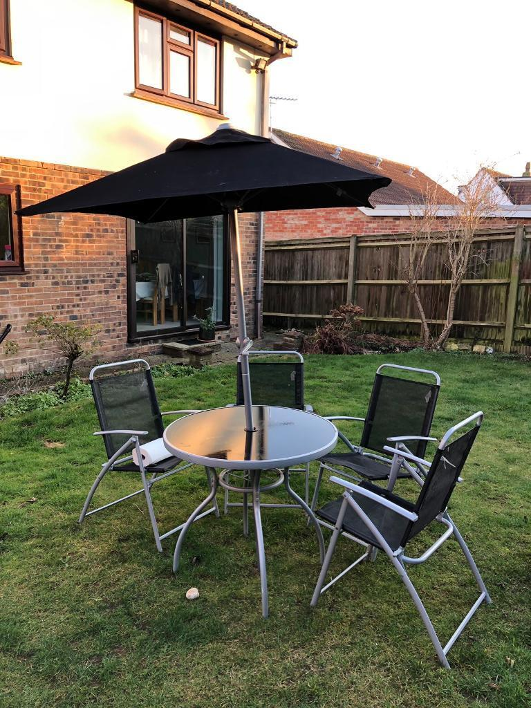 B and q patio garden furniture set chairs table umbrella