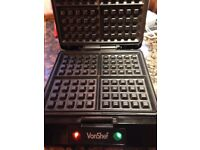 VonShef 4 Slice Quad Belgian Waffle Maker Iron Machine Press Non-Stick 1100W