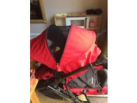 Red britax B Dual double buggy
