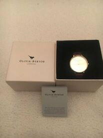 Olivia Burton Big Dial Watch in Burgundy and Gold
