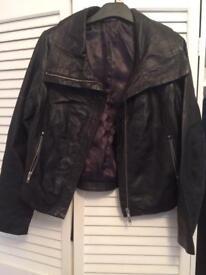 Short real leather jacket size 12