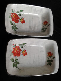Two small Midwinter Dishes. Fashion Shape. Rose Marie. 1950s.
