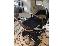 Joolz Day pram - parrot blue with accessories (plus extra fabric set in elephant grey)
