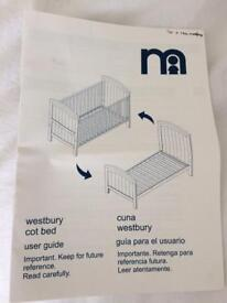 Mothercare westbury cot bed (white)