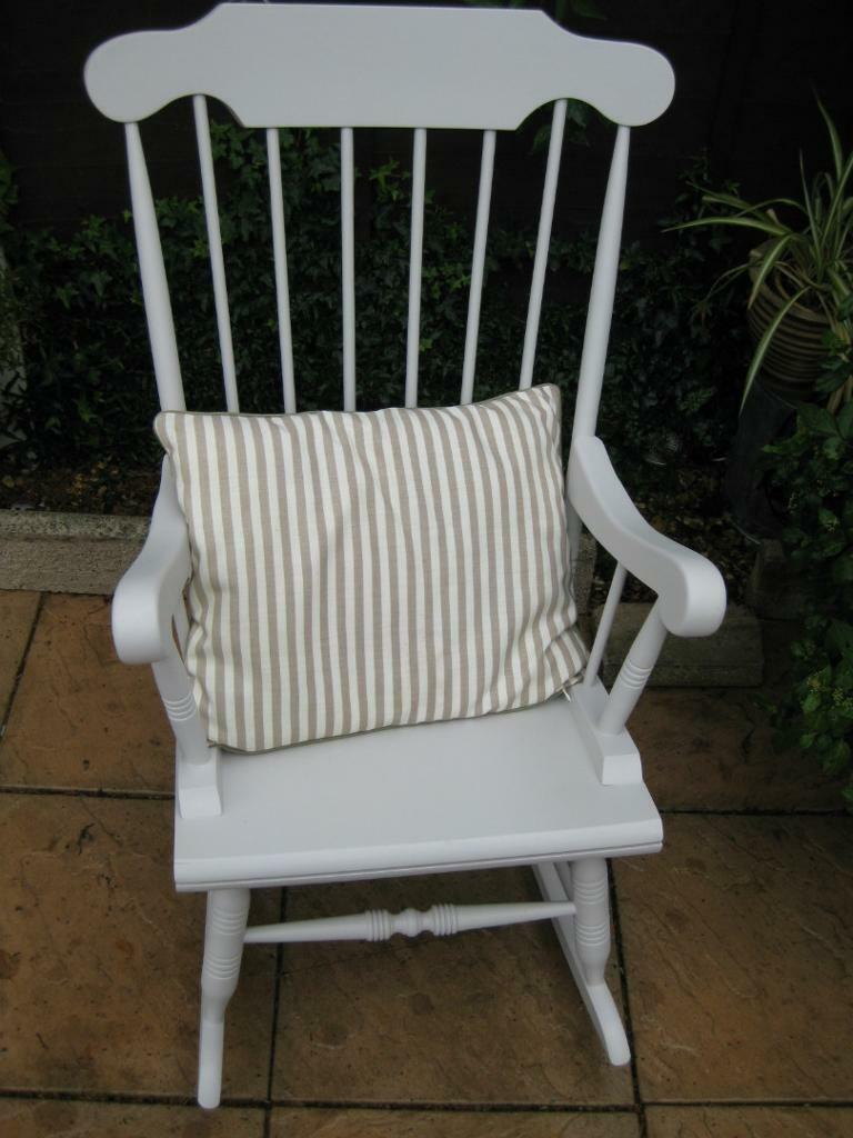 Shabby chic painted rocking chairs - Shabby Chic Pine Rocking Chair Painted In Farrow And Ball Cornforth White Paint Quality Item