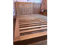 Oak king size bed with Mattress