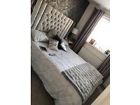 Silver dimante king size crushed velvet bed