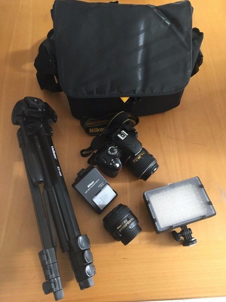 NIKON D3200 DSLR with 2 lenses, bag, tripod & light