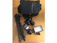 NIKON D3200 DSLR with 2 lenses, bag, tripod & light