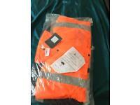 Hi Viz orange two tone and blue full length coat 4xl