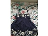 New Look Navy Skater Dress with white floral embroidery size 16