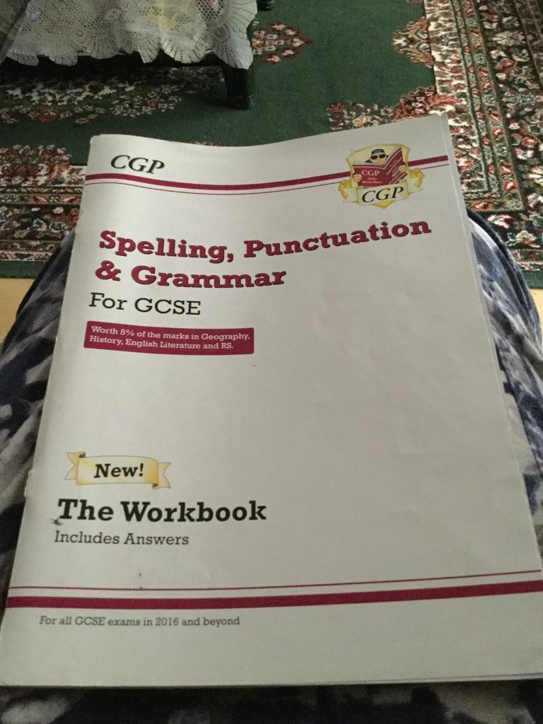 Workbooks grammar and punctuation workbook : CGP Spelling, Punctuation and Grammar GCSE Workbook   in Ipswich ...