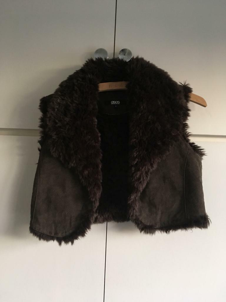 ASOS fur vest in brown colour