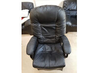 High Back Black Leather Armchair and Footstall