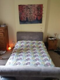 Sleigh style double bed, lilac/grey upholstery