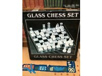 Chess Set - Glass Chess Board & Chess pieces - clear glass and Frosted Glass Boxed