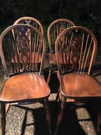 Set Of 4 antique pine wheelback Spindle dining chairs