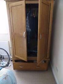 Two door and one drawer robe in nat wood oak