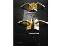 2 pairs of Brass door handles