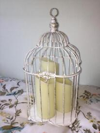 Rustic cage with battery operated candles