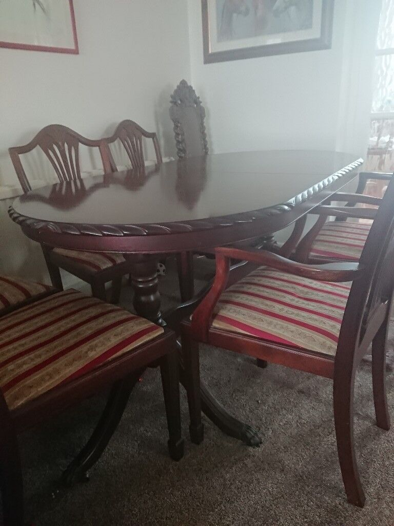 Solid Mahogany Dining Table And 6 Chairs Excellent Condition Matching Dresser Sideboard