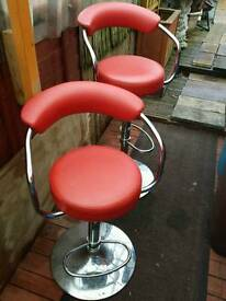 Retro style telescopic red /chrome stool x 2..